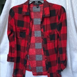 Red & Black Plaid Flannel button-up shirt